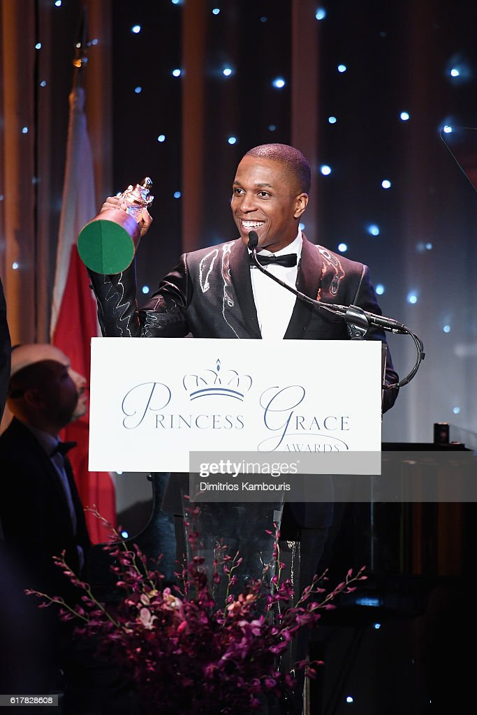 Princess Grace Statue Award Recipient Leslie Odom Jr. speaks onstage during the 2016 Princess Grace Awards Gala with presenting sponsor Christian Dior Couture at Cipriani 25 Broadway on October 24, 2016 in New York City.