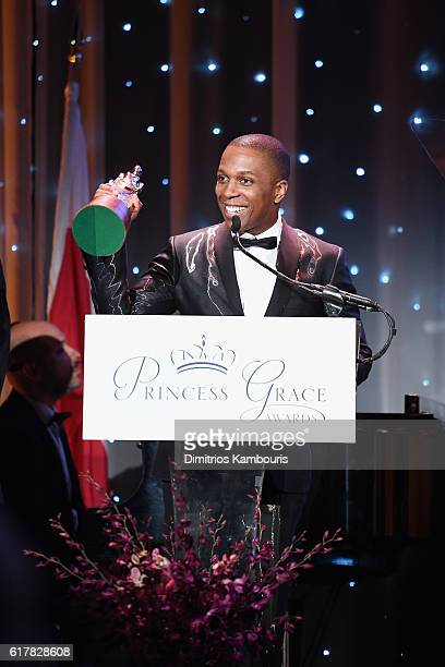 Princess Grace Statue Award Recipient Leslie Odom Jr speaks onstage during the 2016 Princess Grace Awards Gala with presenting sponsor Christian Dior...