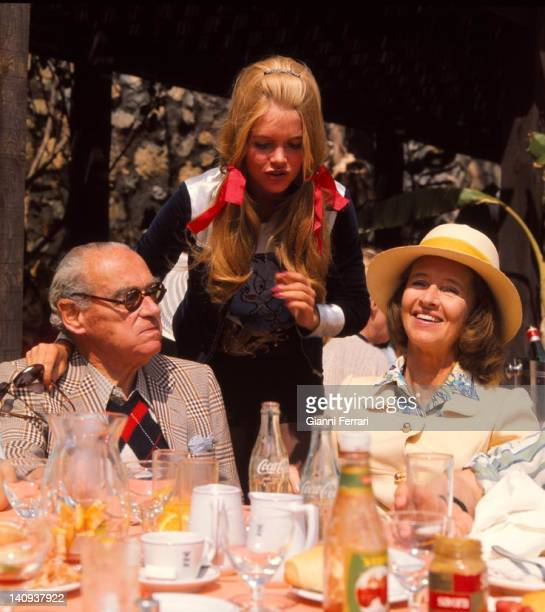 Princess Gunilla von Bismarck with his father Prince Otto von Bismarck and his mother Princess Ana Maria in Marbella Malaga Spain