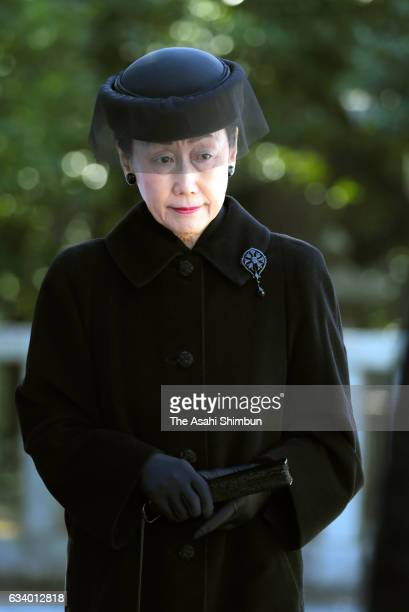 Princess Hanako of Hitachi attends the 100th anniversary memorial for late Prince Mikasa at Toshimagaoka Cemetery on February 3 2017 in Tokyo Japan