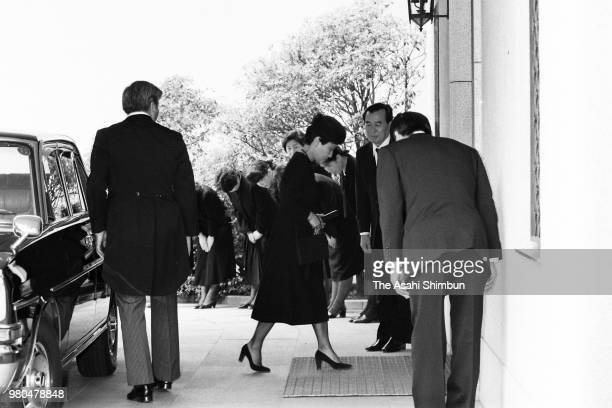Princess Hanako of Hitachi is seen on arrival at the residence of late Prince Takamatsu for the 100 days memorial ceremony of his death on May 13...