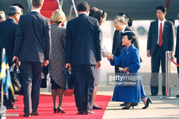 Princess Hanako of Hitachi, Prince Hitachi and Crown Prince Naruhito see off King Carl XVI Gustaf and Queen Silvia of Sweden after Emperor Akihito's...
