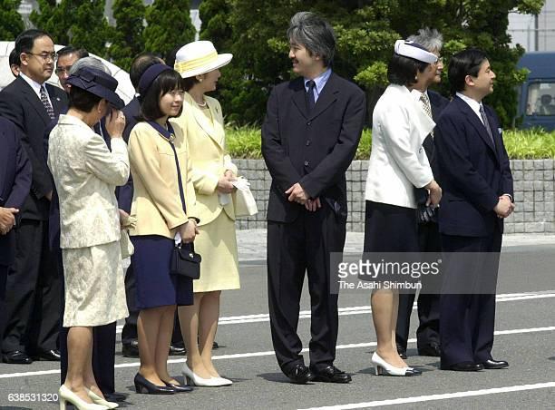 Princess Hanako of Hitachi, Prince Hitachi, Princess Kiko, Prince Akishino, Crown Princess Masako and Crown Prince Naruhito wait for the arrival of...