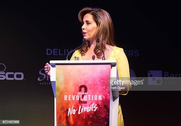 Princess Haya bint Al Hussein adresseses the guests at the Hockey Revolution Part 2 No Limits Ball on November 11 2016 in Dubai United Arab Emirates