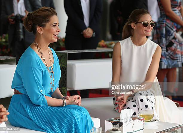Princess Haya Bint Al Hussein and actress Olivia Palermo watch the action on the final day of the Cartier International Dubai Polo Challenge 10th...