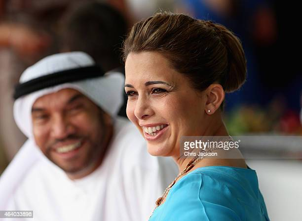 Princess Haya Bint Al Hussein and Ali Al Bawardi watch the action on the final day of the Cartier International Dubai Polo Challenge 10th edition at...