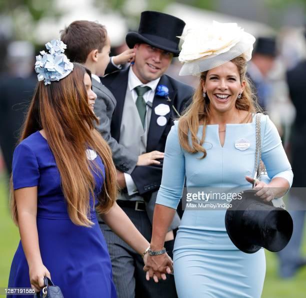 Princess Haya Bint Al Hussein and daughter Sheikha Al Jalila bint Mohammed bin Rashid Al Maktoum accompanied by bodyguard Russell Flowers attend day...
