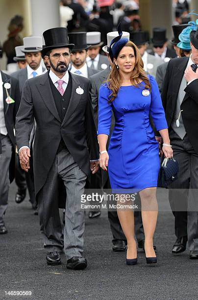 Princess Haya Bint Al Hussein and Sheikh Mohammed bin Rashid Al Maktoum attend day two of Royal Ascot at Ascot Racecourse on June 20 2012 in Ascot...