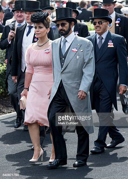 Princess Haya Bint Al Hussein and Sheikh Mohammed Bin Rashid Al Maktoum attend day 4 of Royal Ascot at Ascot Racecourse on June 17 2016 in Ascot...
