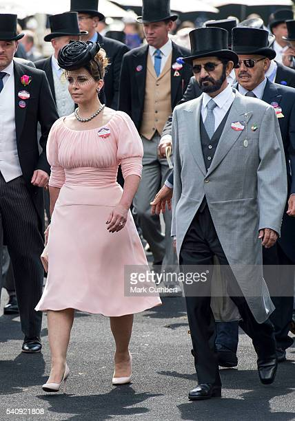 Princess Haya Bint Al Hussein and Sheikh Mohammed Bin Rashid Al Maktoum attend day 4 of Royal Ascot at Ascot Racecourse on June 17 2016 in Ascot...