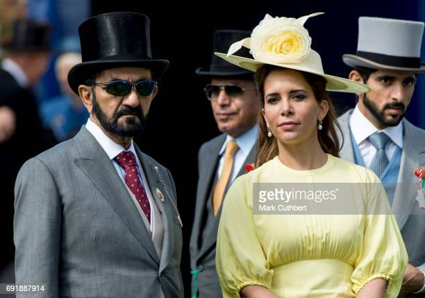 Princess Haya Bint Al Hussein and Sheikh Mohammed Bin Rashid Al Maktoum attend Derby day at Epsom Derby festival at Epsom Downs on June 3 2017 in...