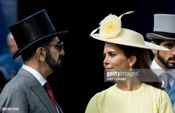 Princess Haya Bint Al Hussein and Sheikh Mohammed Bin Rashid Al Maktoum attend Derby day at Epsom Derby festival at Epsom Downs on June 3, 2017 in...