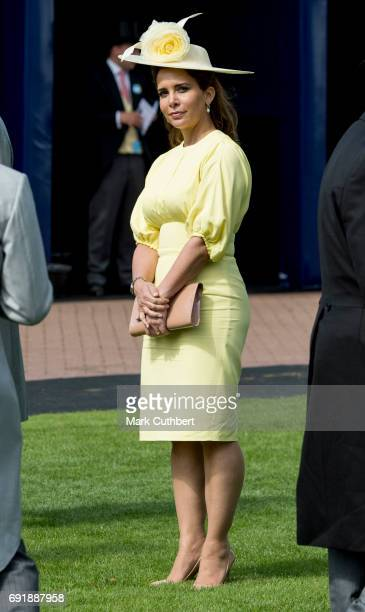 Princess Haya Bint Al Hussein attends Derby day at Epsom Derby festival at Epsom Downs on June 3, 2017 in Epsom, England.