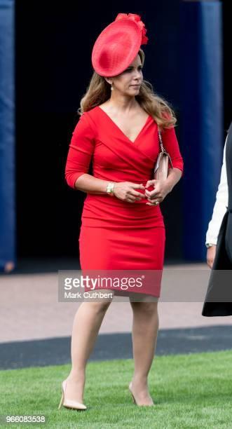 Princess Haya Bint Al Hussein attends the Epsom Derby Festival at Epsom Racecourse on June 2 2018 in Epsom England