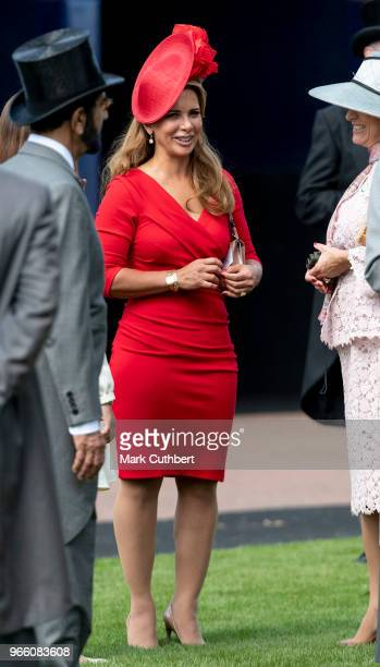 Princess Haya Bint Al Hussein attends the Epsom Derby Festival at Epsom Racecourse on June 2 2018 in Epsom England
