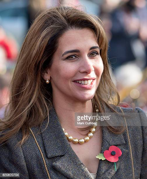 Princess Haya Bint Al Hussein during an official visit by Queen Elizabeth II on November 3 2016 in Newmarket England Queen Elizabeth II unveiled a...