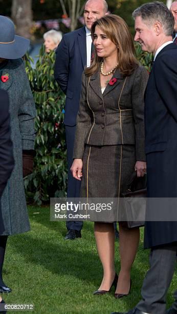 Princess Haya Bint Al Hussein during an official visit by Queen Elizabeth II on November 3 2016 in Newmarket England Queen Elizabeth II unveiled a...