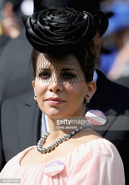 Princess Haya bint Al Hussein in the Parade Ring on the fourth day of Royal Ascot at Ascot Racecourse on June 17 2016 in Ascot England