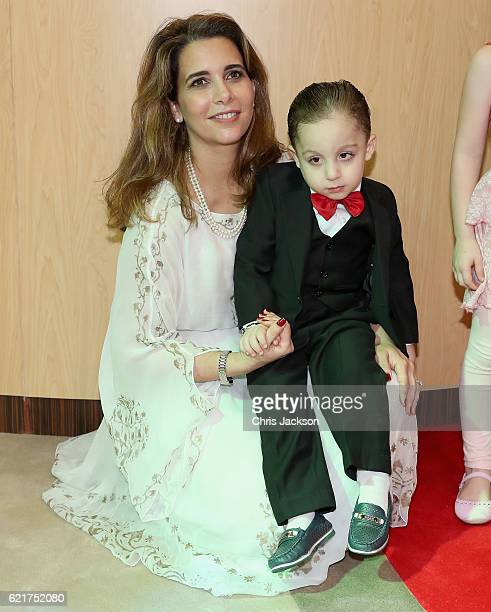 Princess Haya Bint Al Hussein meets a young Syrian boy called Mohamad Helly on day 3 of a Royal tour of the United Arab Emirates at Al Jalila...