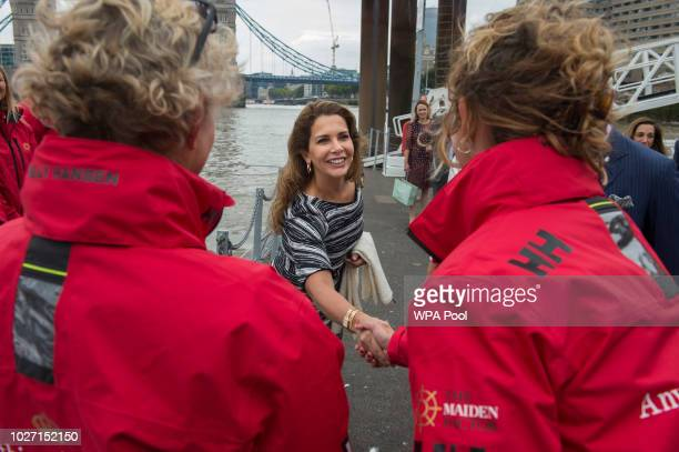 Princess Haya Bint Al Hussein meets the crew members during her visit to the newly refurbished 'Maiden' Yacht with Prince Charles Prince of Wales and...