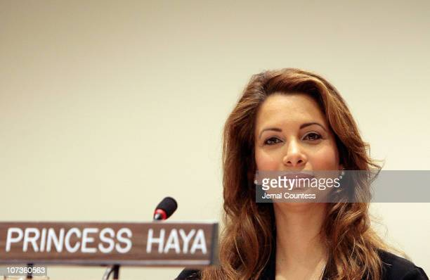 HRH Princess Haya Bint Al Hussein of Jordan a newly named UN Messenger of Peace addresses youth gathered at the United Nations during the student...