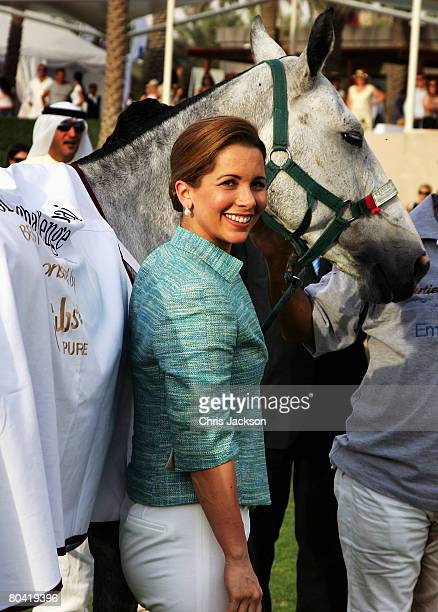 Princess Haya Bint Al Hussein smiles during the 3rd Cartier Dubai Polo Challenge at Desert Palm Polo Ground on March 28 2008 in Dubai United Arab...