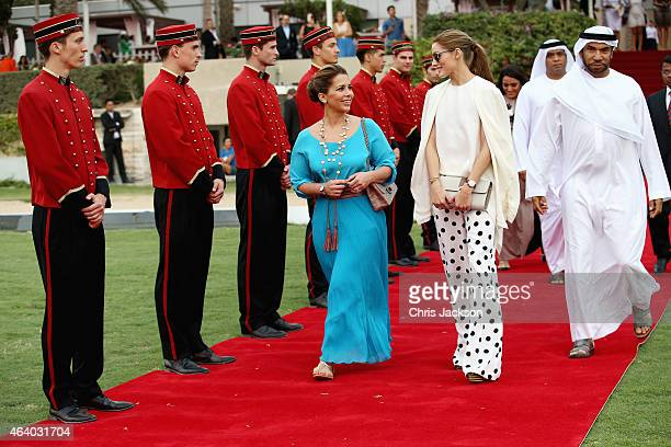 Princess Haya Bint Al Hussein walks down the red carpet with actress Olivia Palermo on the final day of the Cartier International Dubai Polo...