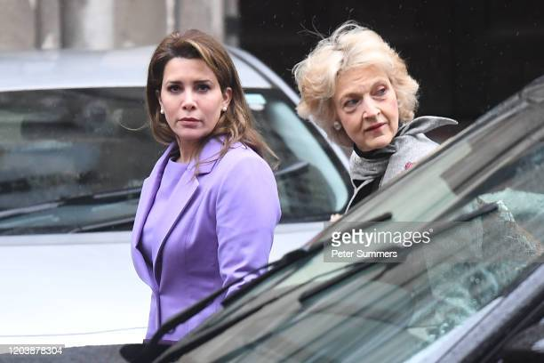 Princess Haya Bint alHussein arrives with her lawyer Baroness Fiona Shackleton at the High Court on February 28 2020 in London England Princess Haya...