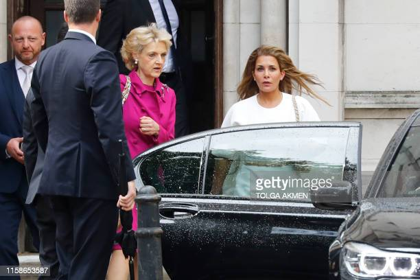 Princess Haya Bint alHussein of Jordan accompanied by her lawyer lawyer Fiona Shackleton leaves the High Court in London on July 30 2019 The...