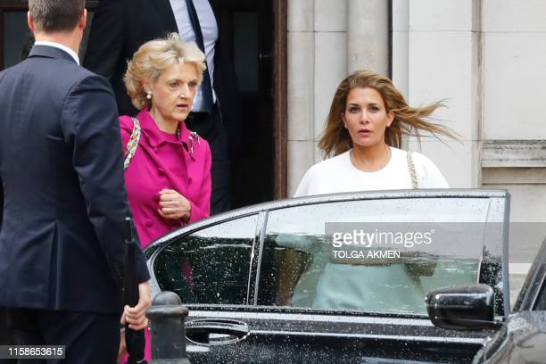 TOPSHOT Princess Haya Bint alHussein of Jordan accompanied by her lawyer lawyer Fiona Shackleton leaves the High Court in London on July 30 2019 The...