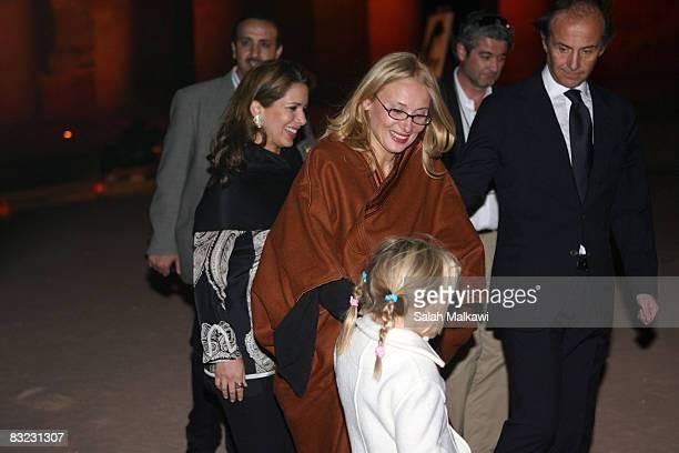 Princess Haya Bint alHussein of Jordan and Nicoletta Mantovani Pavarotti wife of the late Italian Maestro Luciano Pavarotti and their doughter Alice...