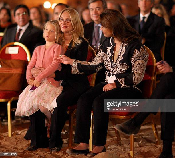 Princess Haya Bint al-Hussein of Jordan comforts Alice Pavarotti and Nicoletta Pavarotti as they attend a Memorial service to celebrate the life of...