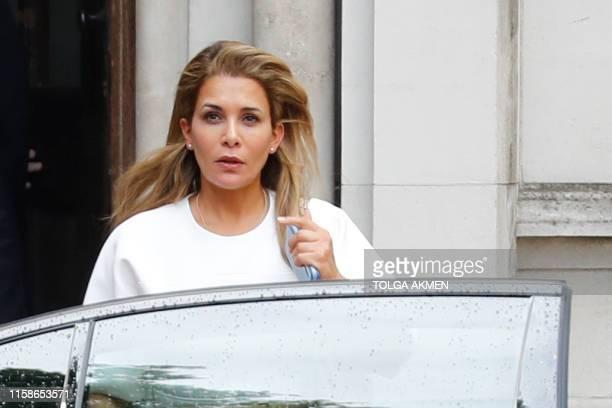 Princess Haya Bint alHussein of Jordan leaves the High Court in London on July 30 2019 Princess Haya the estranged wife of the ruler of Dubai Sheikh...