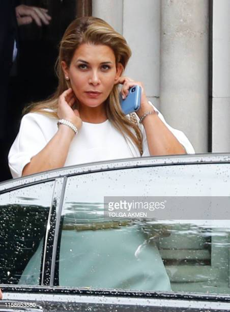 Princess Haya Bint alHussein of Jordan leaves the High Court in London on July 30 2019 Princess Haya the estranged wife of the ruler of Dubai Sheikh...