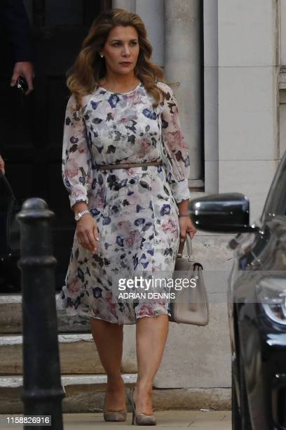 Princess Haya Bint al-Hussein of Jordan leaves the Royal Courts of Justice in London on July 31, 2019. - Princess Haya, the estranged wife of the...