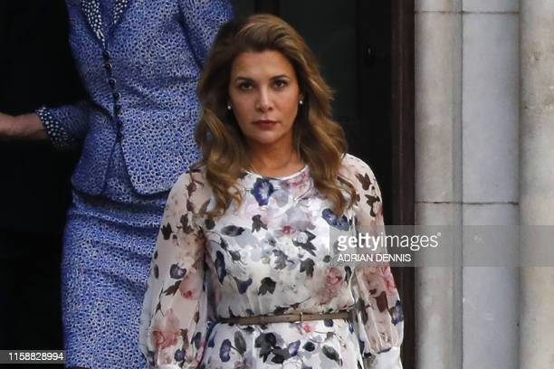 Princess Haya Bint alHussein of Jordan leaves the Royal Courts of Justice in London on July 31 2019 Princess Haya the estranged wife of the ruler of...