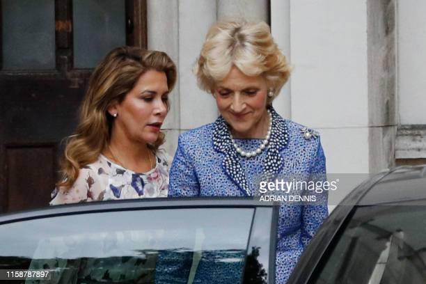 Princess Haya Bint alHussein of Jordan leaves the Royal Courts of Justice accompanied by lawyer Fiona Shackleton for a break in London on July 31...
