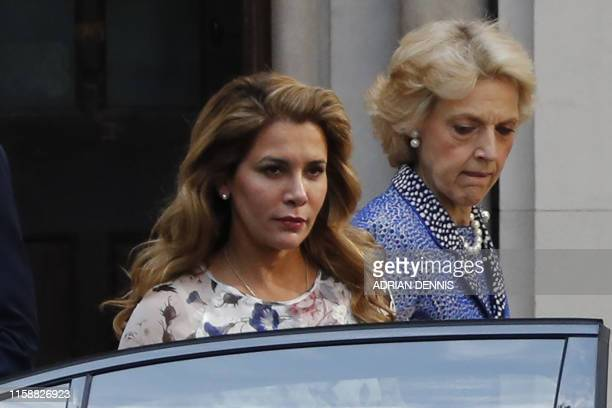 Princess Haya Bint alHussein of Jordan leaves the Royal Courts of Justice accompanied by lawyer Fiona Shackleton in London on July 31 2019 Princess...