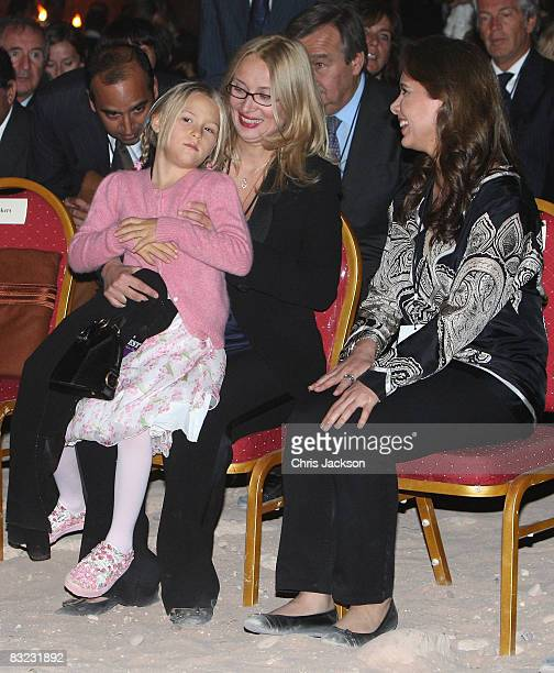 Princess Haya Bint alHussein of Jordan talks with Alice Pavarotti and Nicoletta Pavarotti as they attend a Memorial service to celebrate the life of...