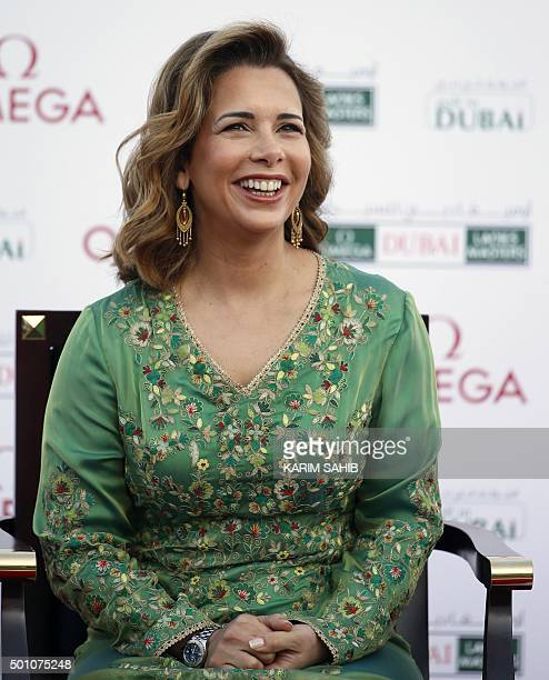 Princess Haya Bint AlHussein the wife of Sheikh Mohammed Bin Rashid AlMaktoum VicePresident and Prime Minister of the UAE and Ruler of Dubai looks on...