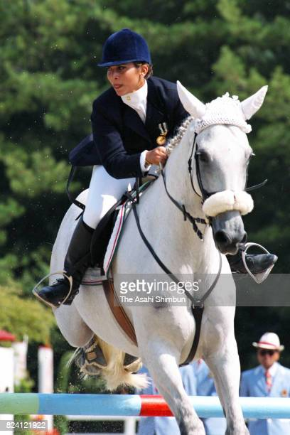 Princess Haya of Jordan competes in the Equestrian Individual Jumping qualification during the 12th Asian Games Hiroshima on October 7 1994 in...