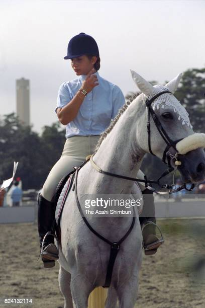Princess Haya of Jordan is seen prior to the Equestrian competition during the 12th Asian Games Hiroshima on October 4 1994 in Hiroshima Japan