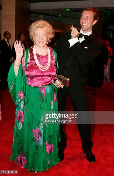 Princess HelgaLee De SchaumburgLippe and an unidentified friend arrive at the Monte Carlo Red Cross Ball 2004 held at the Salle des Etoiles of the...