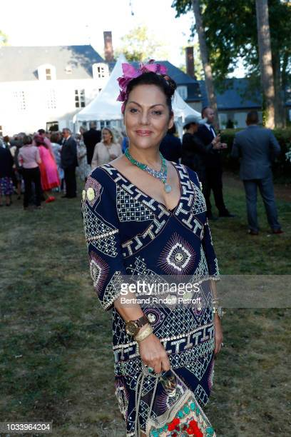 Princess Hermine de ClermontTonnerre attends Wedding of Helene de Yougoslavia and Stanislas Fougeron at Chateau de Villeprevost on September 15 2018...