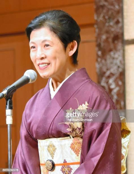Princess Hisako of Takamado addresses at a flower arrengement meeting on December 4 2017 in Tokyo Japan