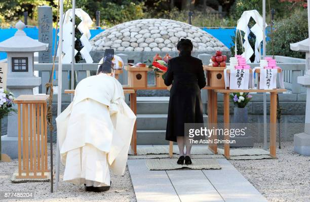 Princess Hisako of Takamado attends the 15th anniversary memorial ceremony for Prince Takamado at Toshimagaoka Cemetery on November 21 2017 in Tokyo...