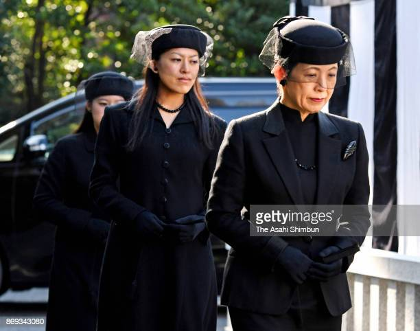 Princess Hisako Princess Tsuguko and Princess Ayako of Takamado attend the memorial ceremony marking the first anniversary of death of Prince Mikasa...