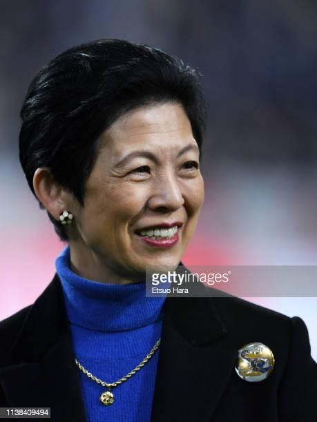 Princess Hisako Takamado looks on prior to the international friendly match between Japan and Bolivia at Noevir Stadium Kobe on March 26, 2019 in...