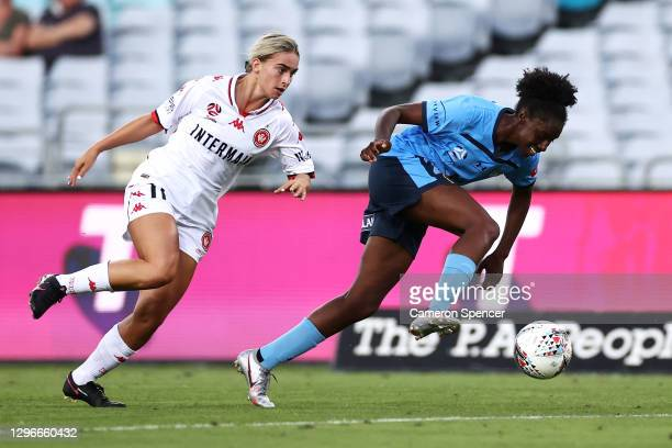 Princess Ibini of Sydney FC and Danika Matos of the Wanderers contest the ball during the round four W-League match between Sydney FC and the Western...