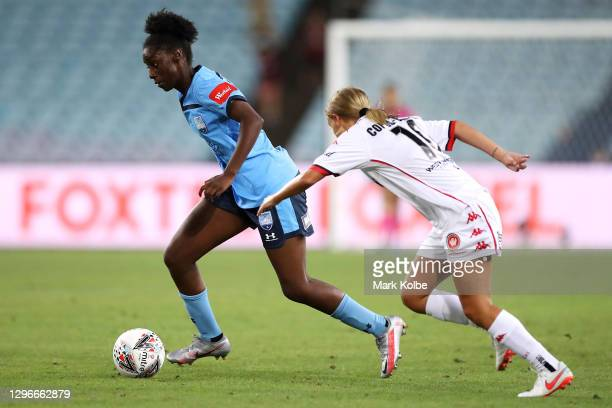 Princess Ibini of Sydney FC runs the ball during the round four W-League match between Sydney FC and the Western Sydney Wanderers at ANZ Stadium, on...